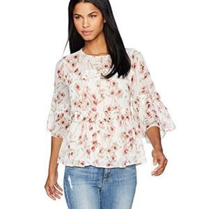 Lucky Brand Floral Peasant Ruffle Blouse